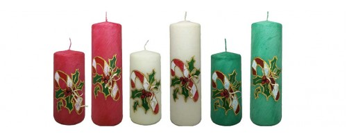 Christmas Decorative Pillar Candle - Candy Cane